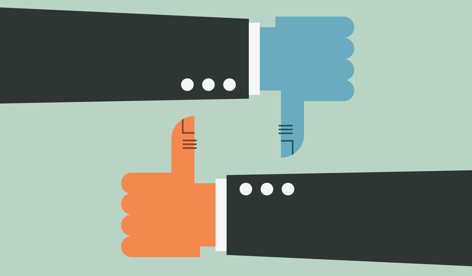 Illustration of one thumbs up and one thumbs down | iStock/Topp_Yimgrimm
