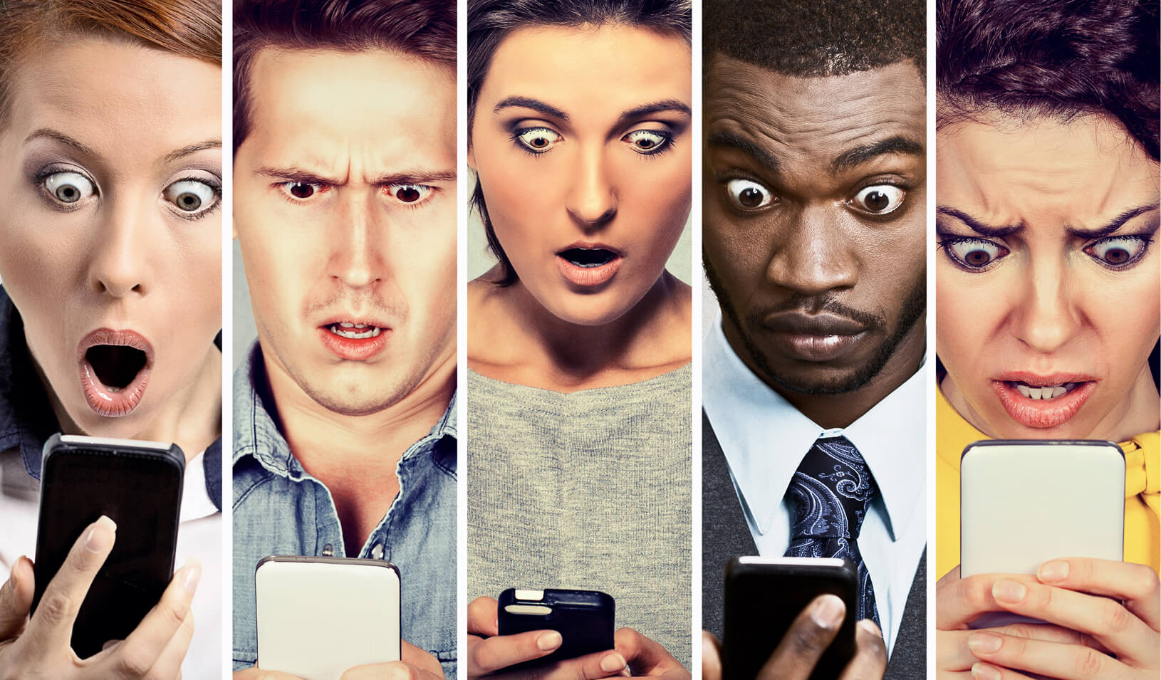 A group of young men and women looking shocked at their cell phones. Credit: iStock/SIphotography