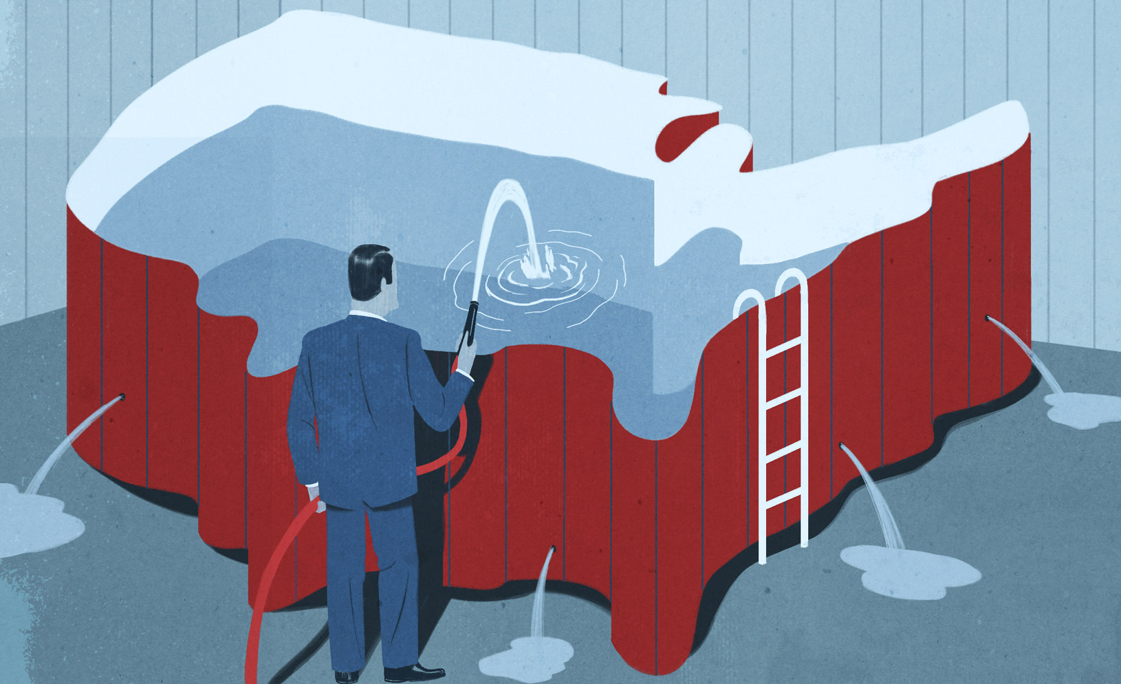 A man filling a pool shaped like the United States with water, with the water leaking out holes in the pool, Illustration by Emiliano Ponzi