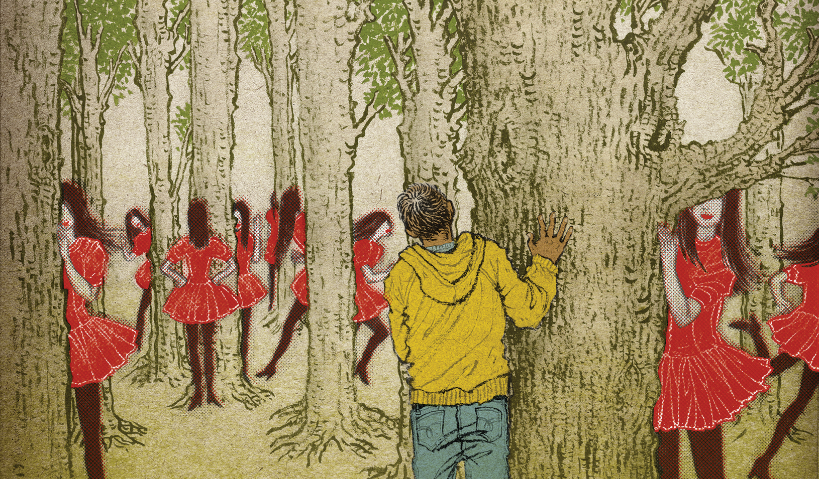 A boy and girls hiding behind trees