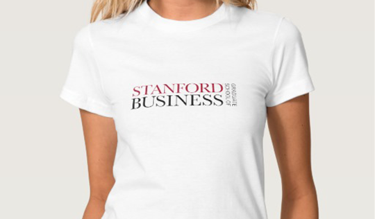 Woman in Stanford GSB t-shirt