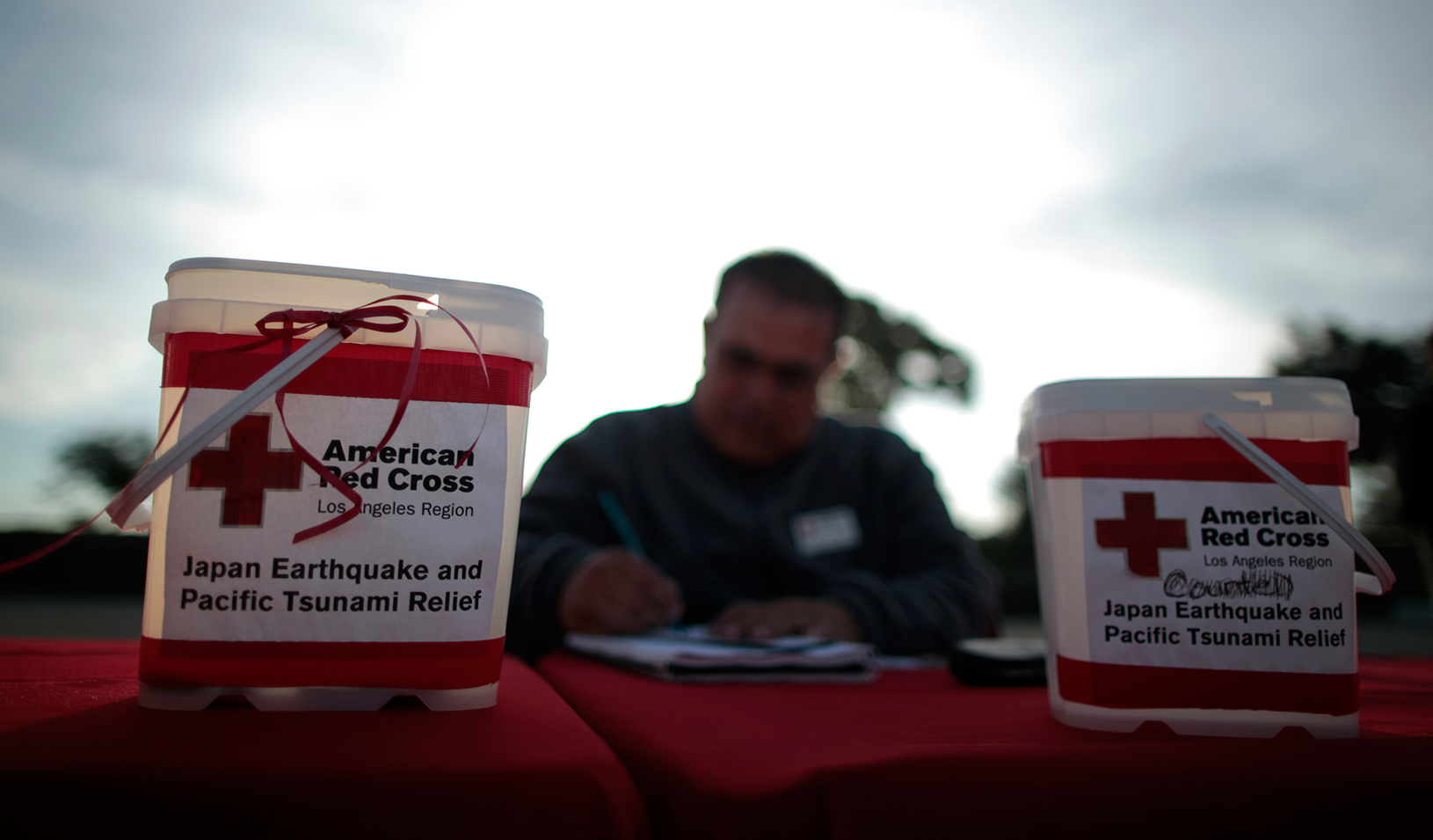 Red Cross Relief Donation Collection Buckets