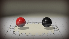 an unfinished puzzle with red and black balls facing each other