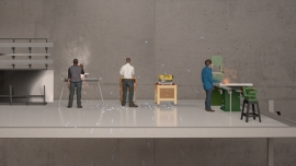 a 3D animation of three workers on a factory floor