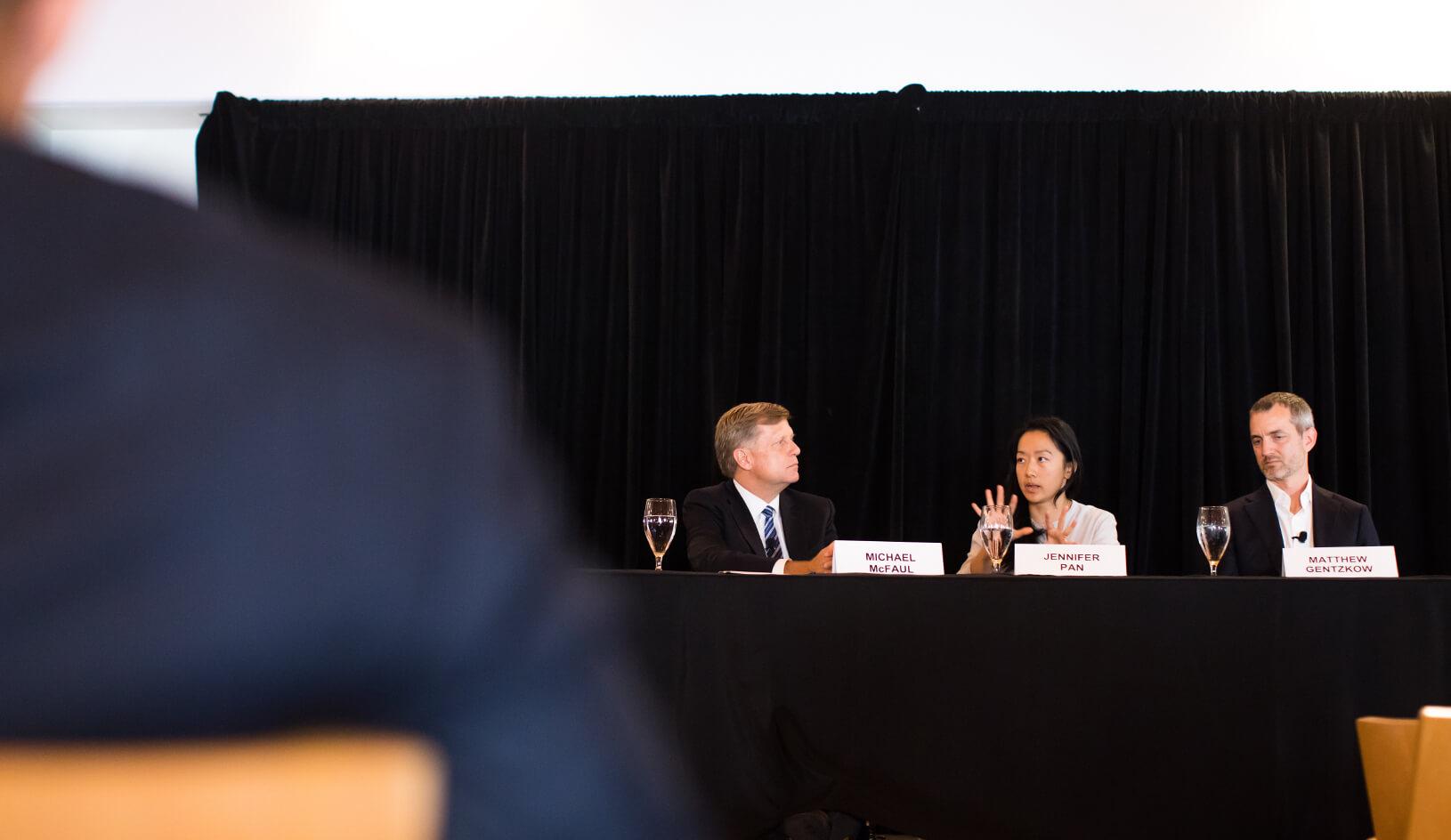 Panelists from left to right: Michael McFaul, Jennifer Pan, Matthew Gentzkow. Credit: Holly Hernandez