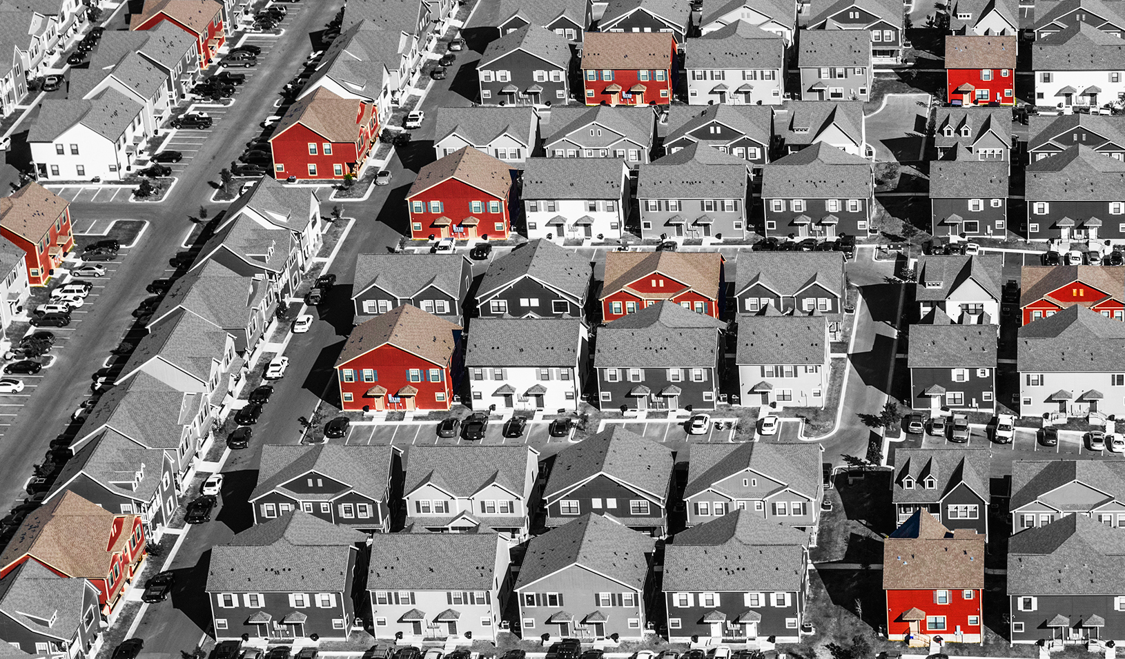 Photo illustration showing low-income housing options in a neighborhood by Tricia Seibold. Photo by iStock/David Sucsy