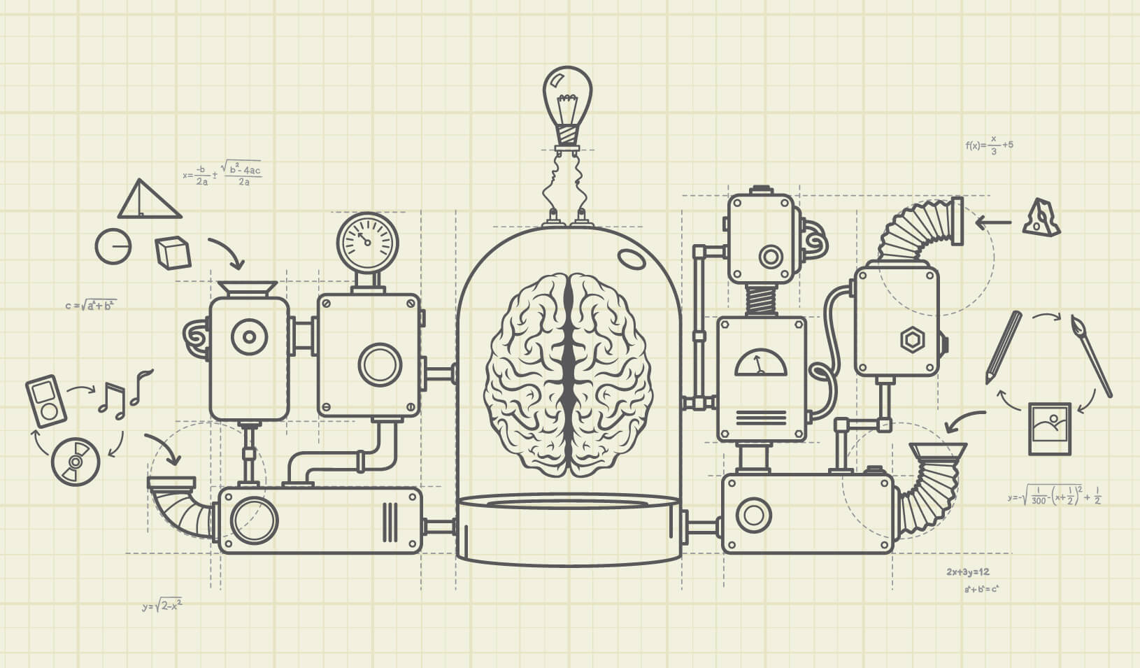 "A complex machine of ""ideas"" is attached to a brain 