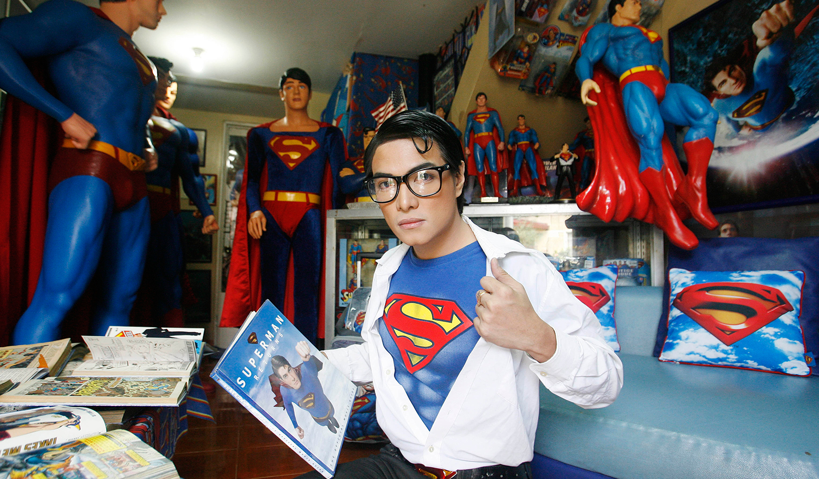Superman fanatic shows off his collection | Reuters/Cheryl Ravelo
