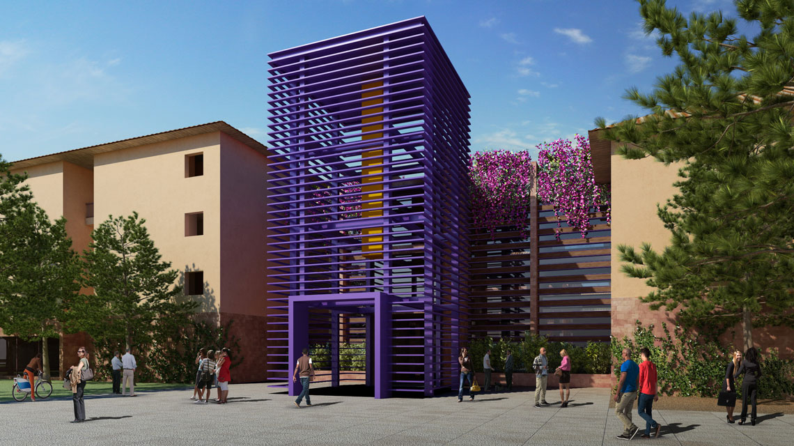 Rendering of entrance into Highland Hall