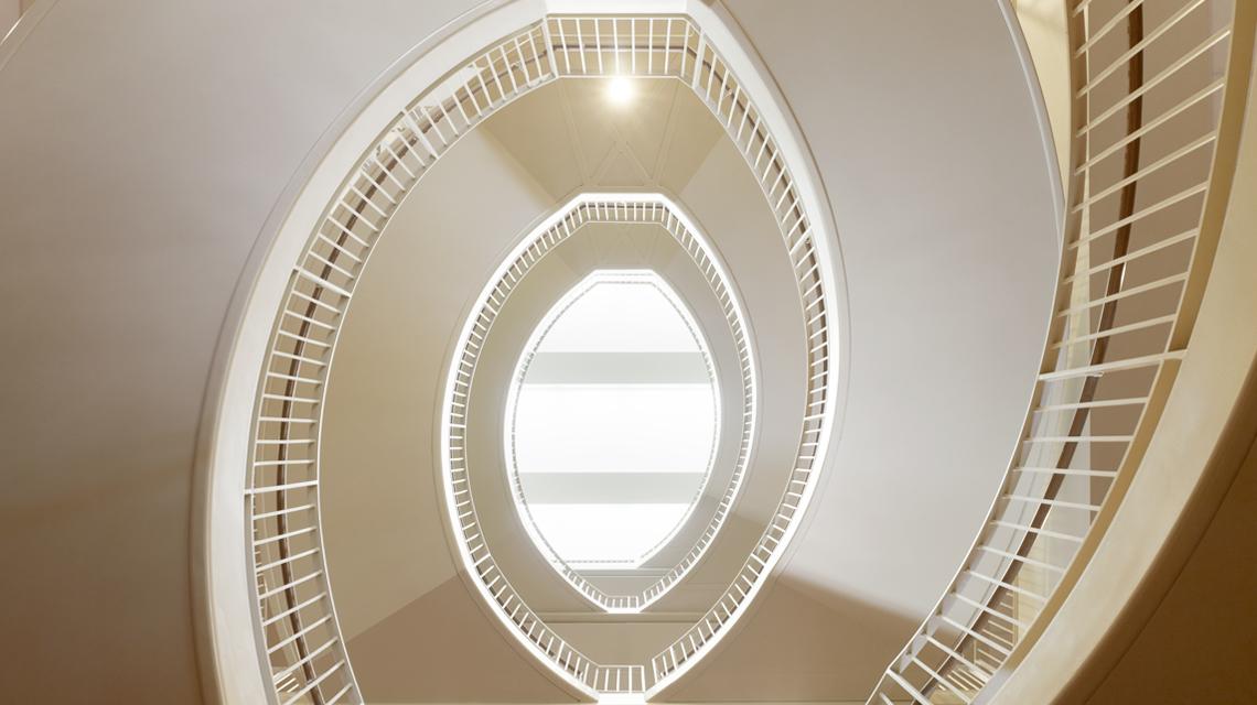 Circular stairwell in Bass Center