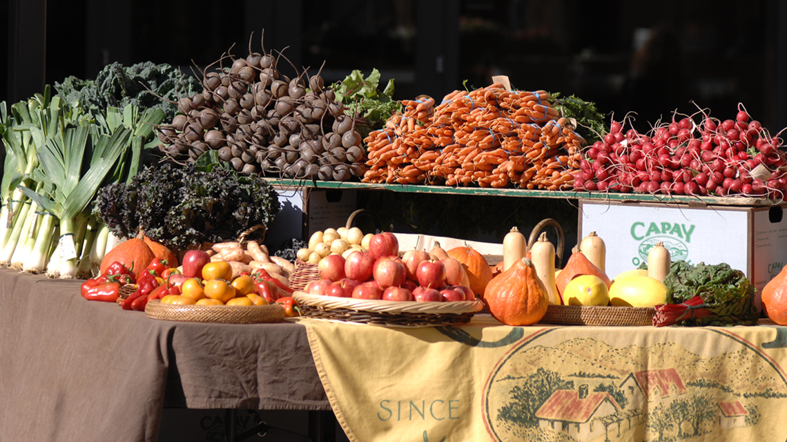 Capay vegetable stand in Town Hall