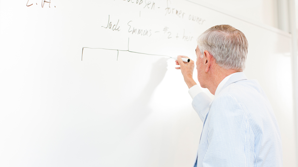 Professor Grousbeck at the whiteboard