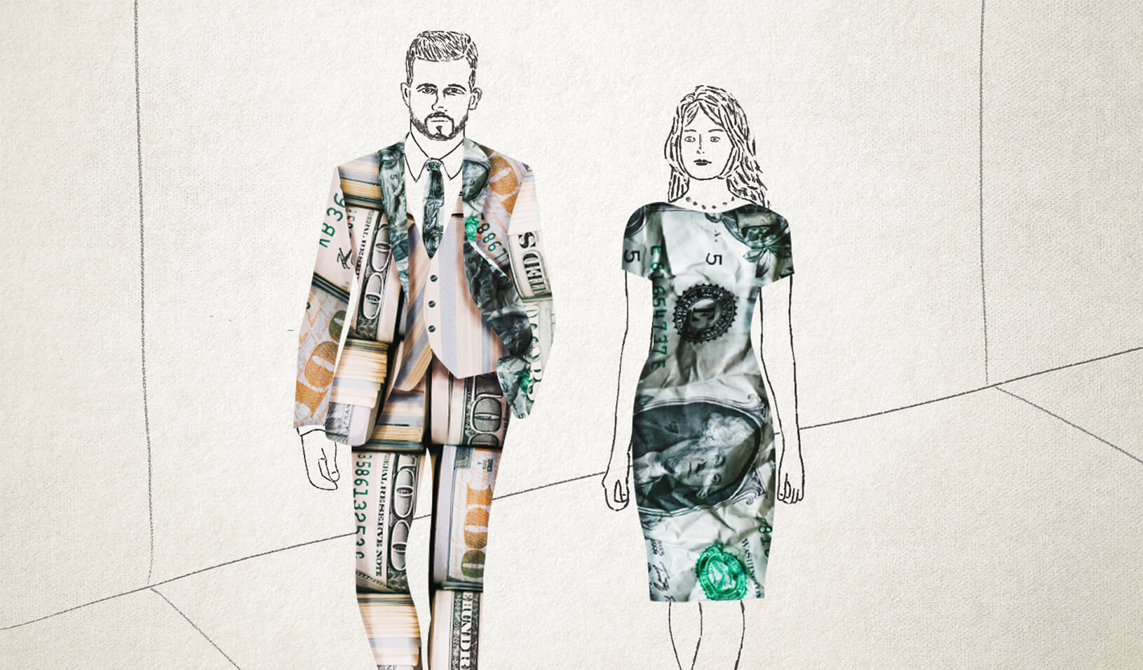 An illustration of a man and a woman clothed in money. | Stefani Billings