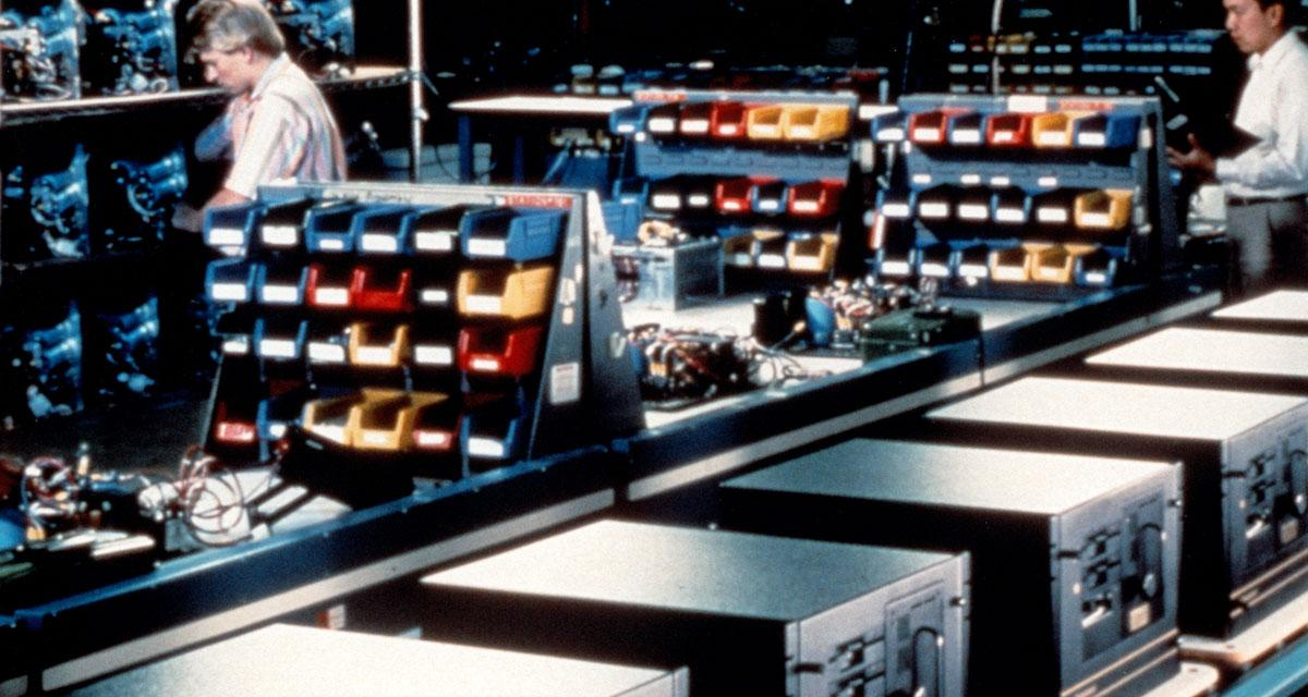 A production line of 1980s computers.