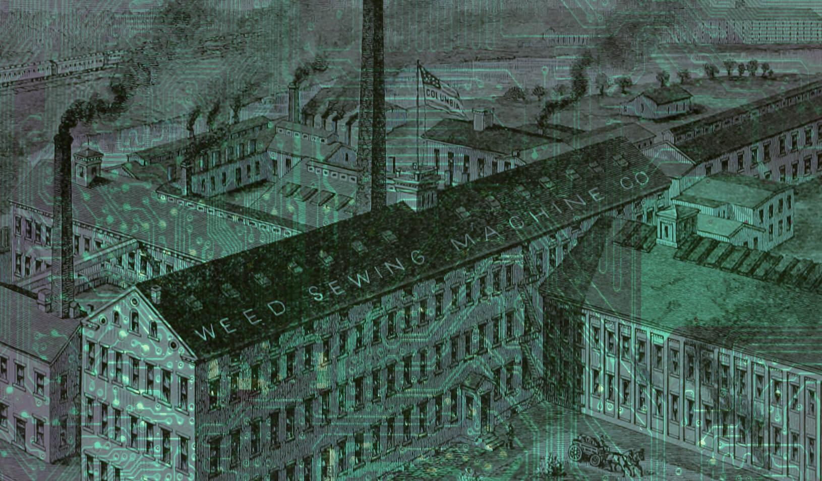 Photo illustration of early sewing factory and computer chip.   Tricia Seibold (with art from iStock/elen11)