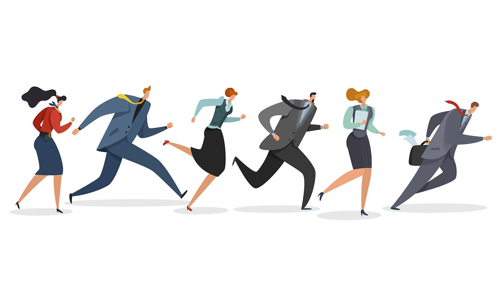 Illustration of business team running. Credit: iStock/Olga Kurbatova