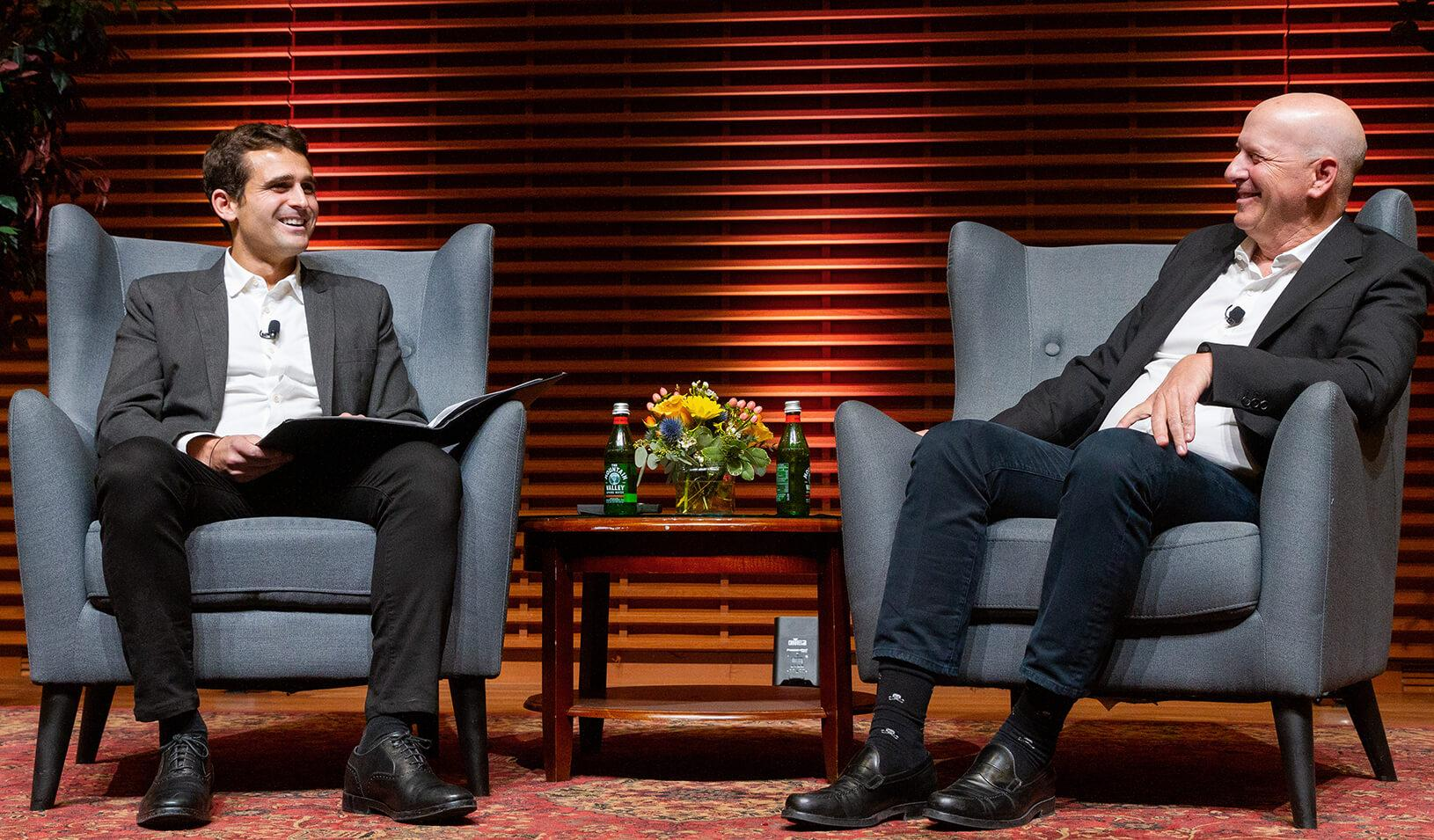 Stanford GSB student Mike Lewis interviews chairman and CEO of Goldman Sachs David Solomon on stage at Stanford GSB. Credit: Kiefer Hickman