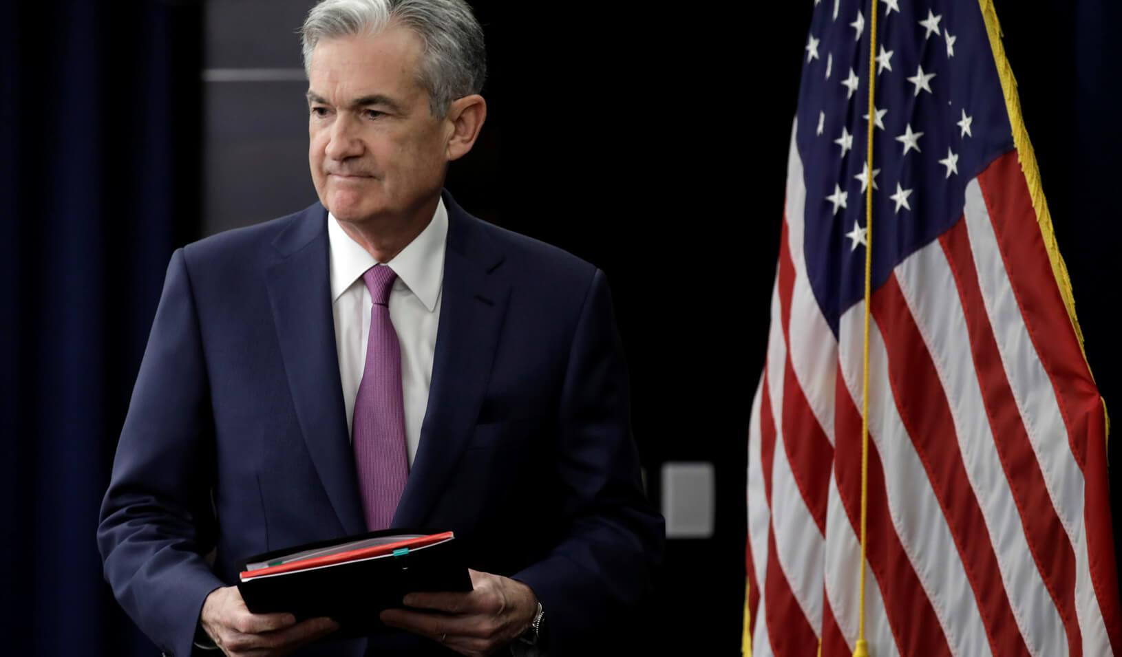 Federal Reserve Board Chair Jerome Powell arrives at his news conference after the two-day meeting of the Federal Open Market Committee on interest rate policy in Washington. Credit: Reuters/Yuri Gripas
