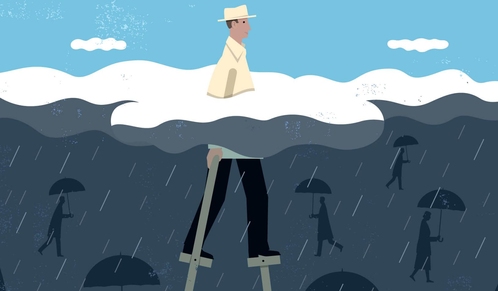 An illustration of a man standing on stilts with his head above the clouds, while others walk with umbrellas below