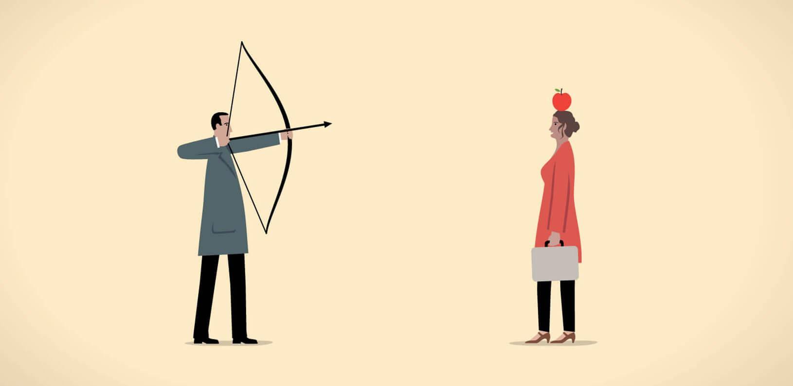 illustration of a man shooting an arrow at an apple at a woman's head