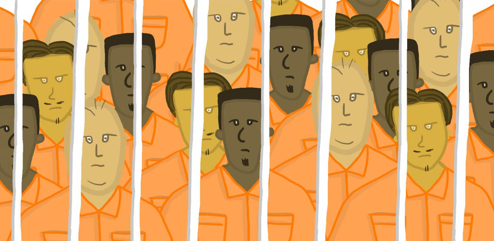 illustration of too many people behind bars
