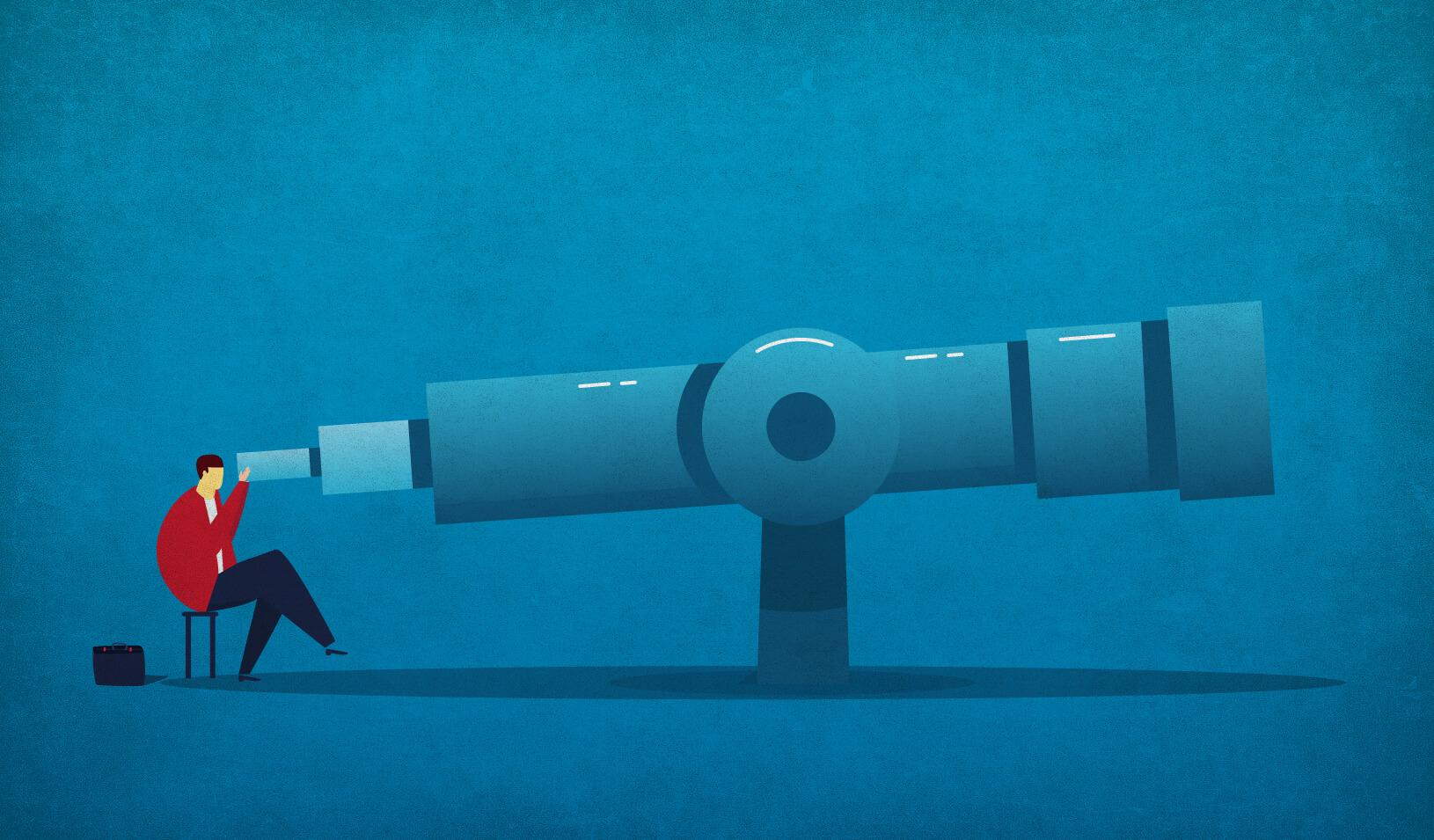 An illustration of a businessperson looking through a telescope. Credit: iStock/z_wei