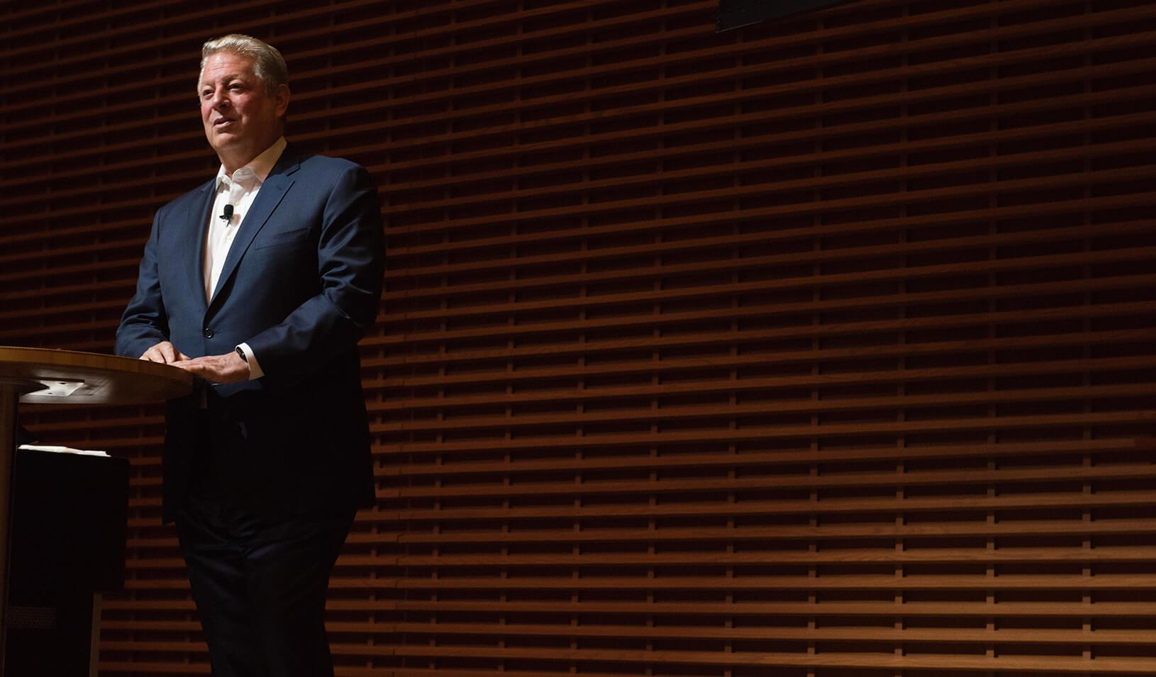 "Al Gore discussed the ""sustainability revolution"" with Stanford GSB students"
