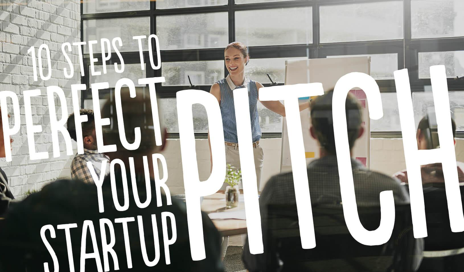 A woman presenting. 10 steps to Perfect your Startup Pitch