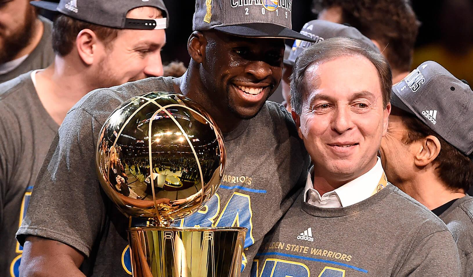 Golden State Warriors forward Draymond Green with owner Joe Lacob