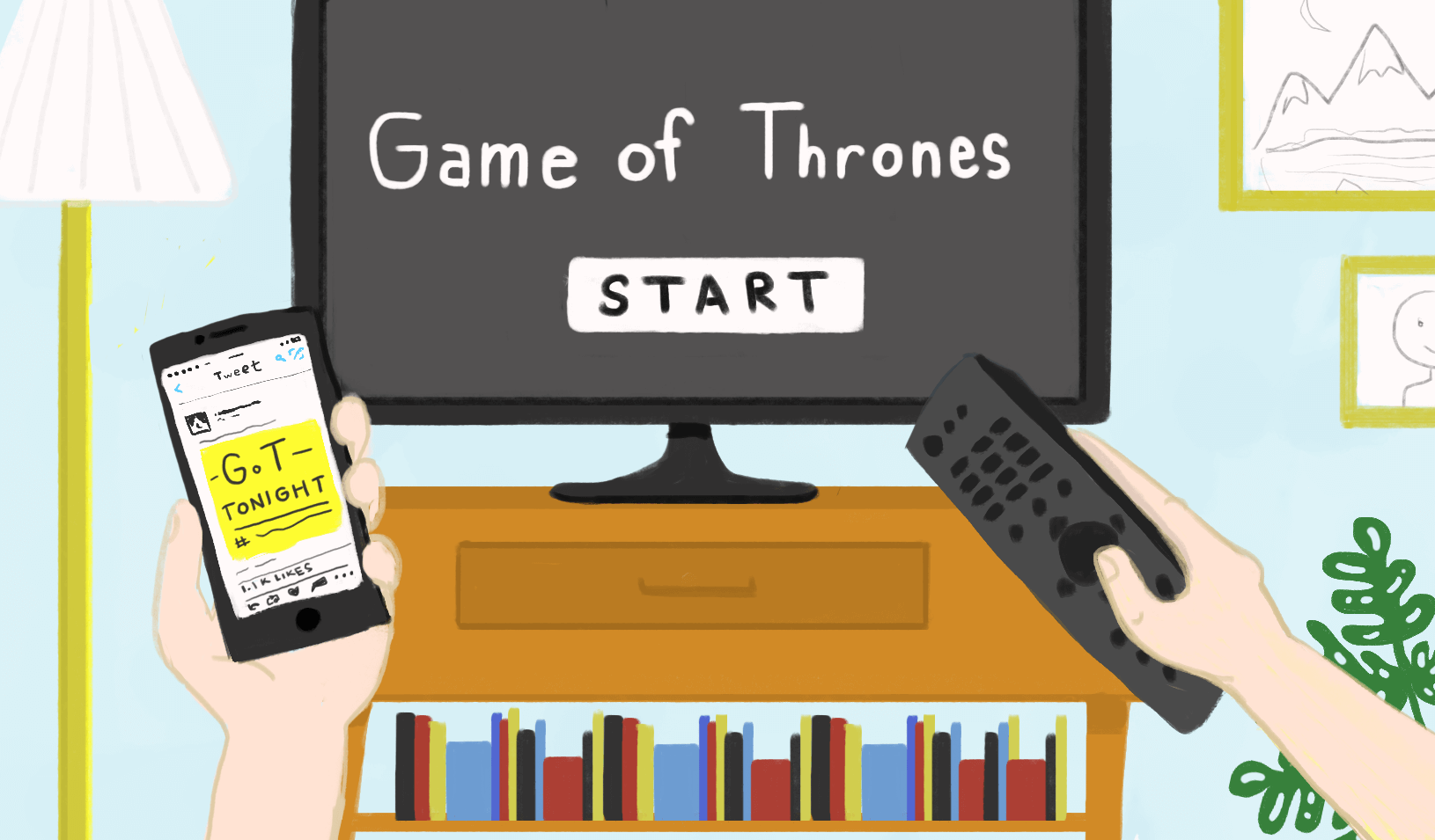 illustration of a TV with Game of Thrones queued up to start