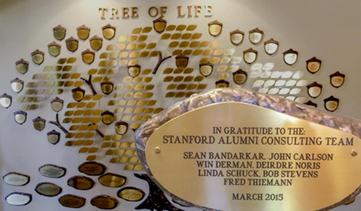 A plaque that reads: In gratitude to the Stanford Alumni Consulting Team - Sean Bandarkar, John Carlson, Win Derman, Deirdre Noris, Linda Schuck, Bob Stevens, Fred Thieman - March, 2015