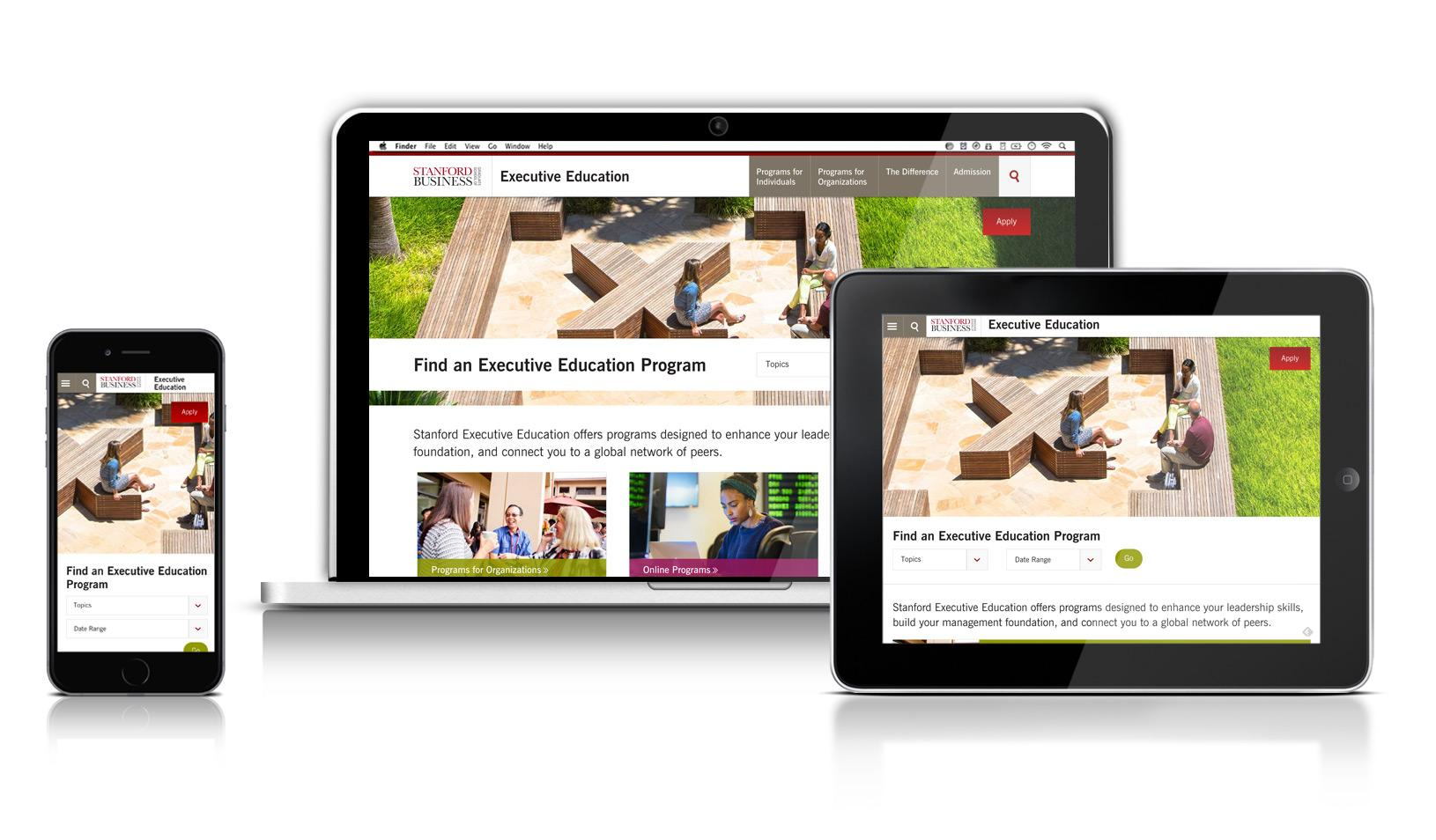 New Executive Education Site On Desktop Mobile And Smartphone