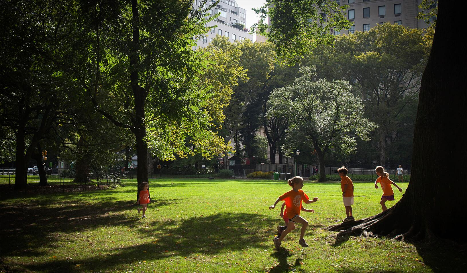 Children play in the early morning sun in Central Park in New York. Credit: Reuters/Carlo Allegri