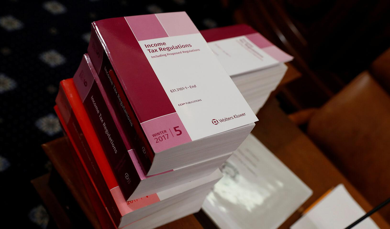 Tax documents are seen prior to a House Ways and Means Committee markup of the Republican Tax Reform legislation on Capitol Hill in Washington, U.S. | Reuters/Aaron P. Bernstein