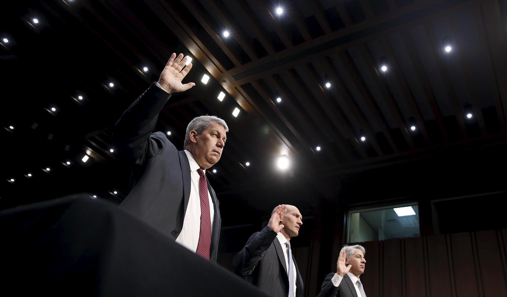 Valeant CEO Michael Pearson, former CFO Howard Schiller, and Pershing Square Capital Management CEO Bill Ackman | Reuters/Jonathan Ernst