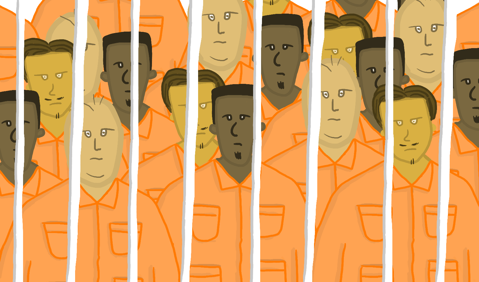 A crowd of men behind bars