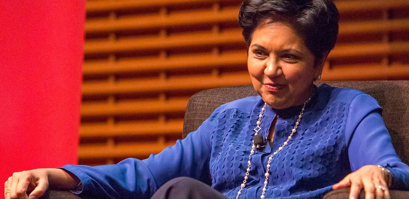 Indra Nooyi spoke to Stanford GSB students at a View From The Top event in May