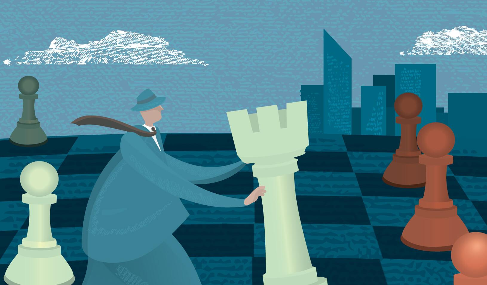 Illustration of a man moving a life-sized rook on a chess board | iStock/JDawnInk