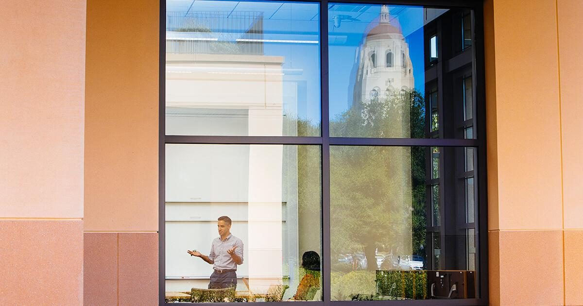 A window reflection at Stanford GSB