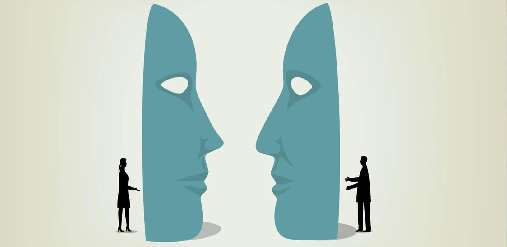 illustration of two individuals speaking to one another through giant masks