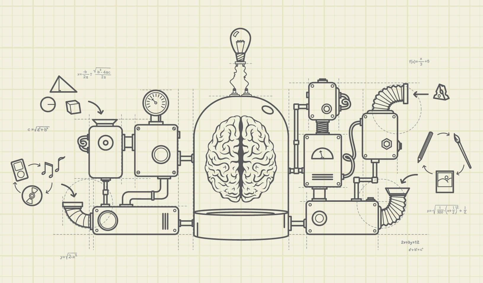 "A complex machine of ""ideas"" is attached to a brain."
