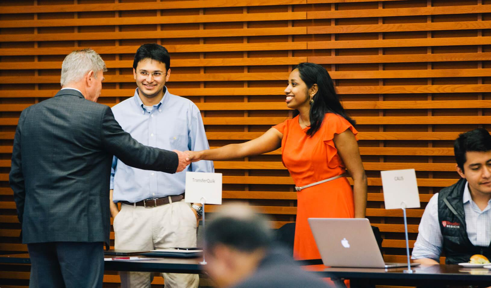 Aditya Ranjan, MBA '19 and Sneha Iyer, MA '19, presented their startup at Stanford Venture Studio's Demo Day. | Elena Zhukova