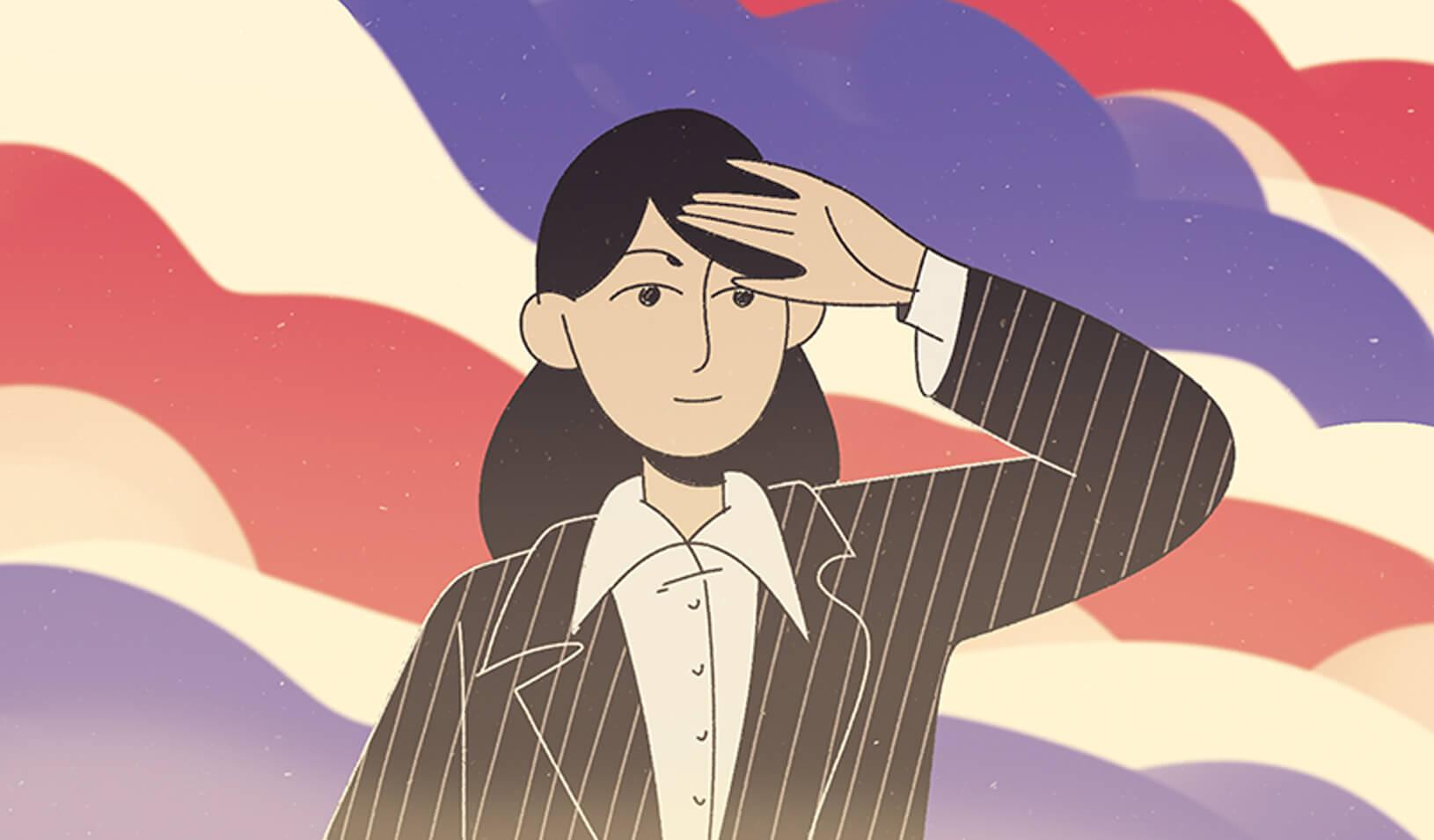A woman running for office looking ahead. | Illustration by Roman Muradov