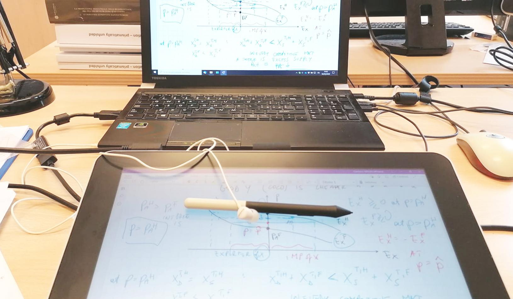 Emilio Calvano's workstation. He uses a graphics tablet connected to a laptop. Credit: Emilio Calvano