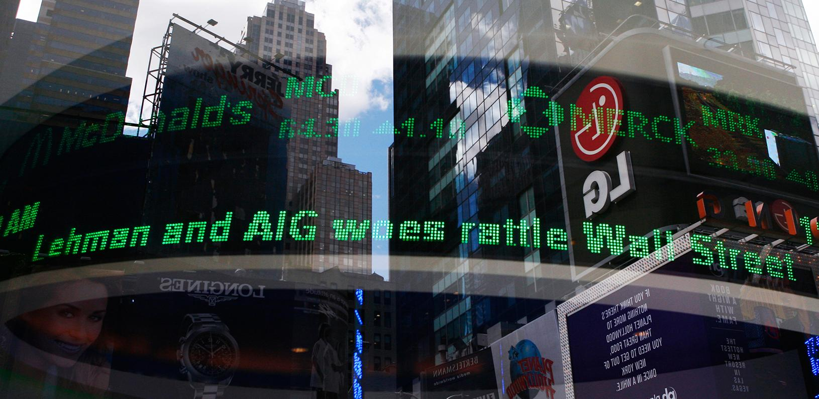 An electronic ticker is seen inside a Bank of America branch in New York
