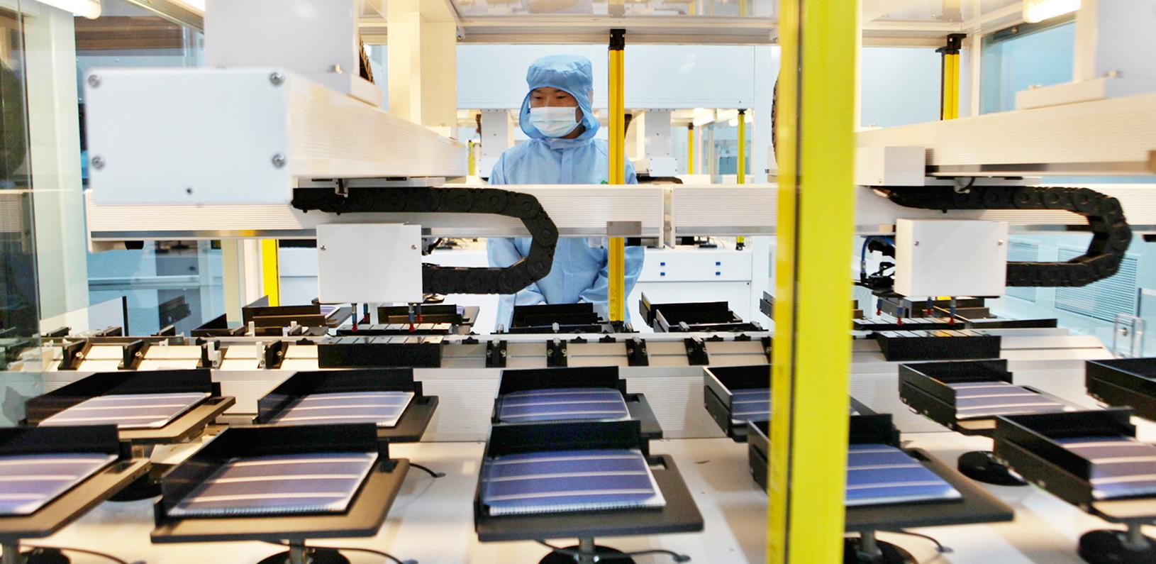 A worker in a Shanghai Chaori Solar Energy Science & Technology factory