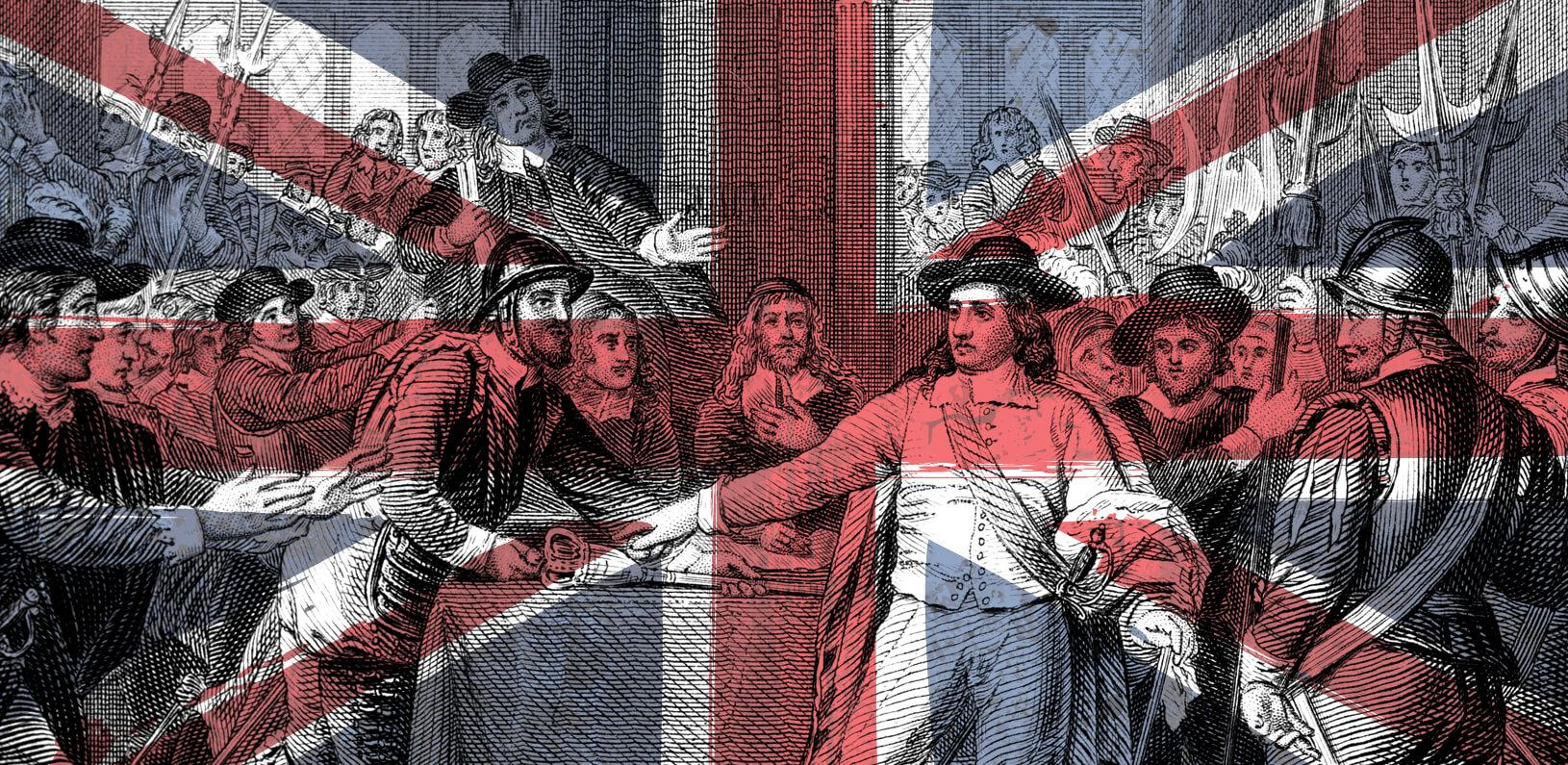 An illustration of the Union Jack flag overlayed with British revolutionaries taking the scepter from King Charles I
