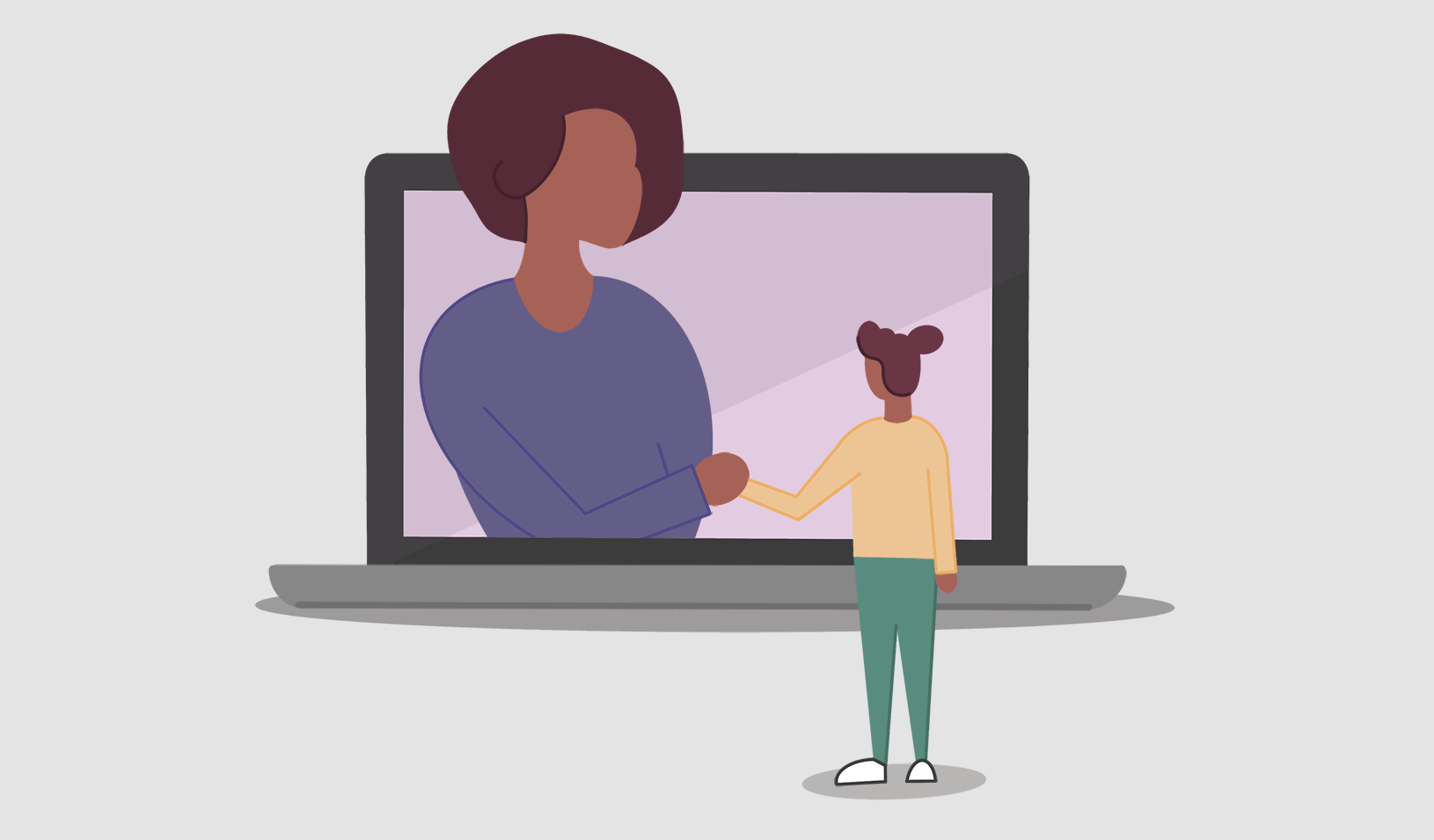 Illustration of a female advisor reaching through a laptop screen to hold the hand of a female student. Credit: Cory Hall