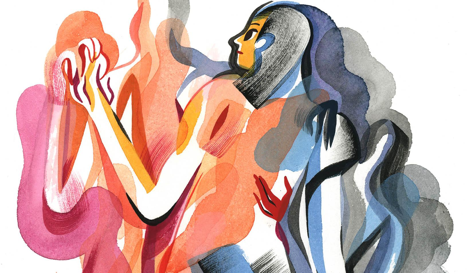 A colorful watercolor of energetic people interacting