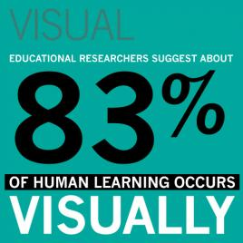 VISUAL: Educational researchers suggest about 83% of human learning occurs visually.